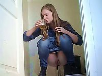 Free Sex White Sexy Young Blondie In The Toiletroom Pissing On Hidden Cam