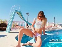 Free Sex Blonde Teen Ivana Getting Wet By The Pool