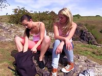 Free Sex Two Hotties Go For A Hike And Eat Pussy On A Mountain Top