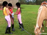 Free Sex Lots Of Pussy Toying Action In This Spicy Outdoors Lesbian Groupsex