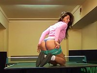 Free Sex Magnificent Teen Strokes  Her Muff Warmly Using This Dildo On A Tennis Table