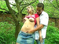 Free Sex Naturally Busty Blonde Teen Sucks And Fucks A  In The Woods