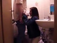 Free Sex A Quick Blowjob In The Bathroom With A Teen Couple