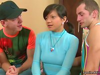 Free Sex Hot Teen Brunette Adelle Blows And Gets Banged By Two Guys